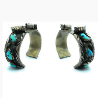 Vintage 1960's Navajo Heavy Gauge Sterling Silver & Turquoise Watch Cuff