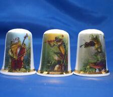 Birchcroft China Thimbles -- Set of Three -- Frogs Chorus