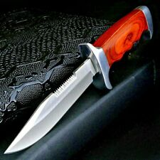 Clip Point Knife Serrated Fixed Blade Hunting Tactical Combat Jungle Wood Handle