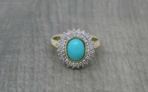 Beautiful 9ct Gold 0.25ct Diamond & Sleeping Beauty Turquoise Ring UK Size M 1/2