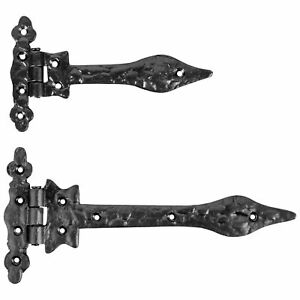 BLACK ANTIQUE Cast Iron Gate/Garage/Shed Door Hinges T Tee Strap Arm Small/Large