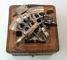 Nautical Antique Sextant vintage Brass Maritime with HandMade Leather Case Gift