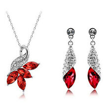 925 Silver Plated Crystal Rhinestone Lovely Peacock Necklace Earring Jewelry Set