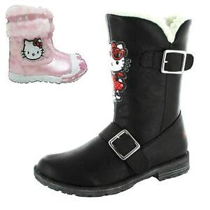 Hello Kitty Kids Girls Black Pink Winter Zip Fur Trim Boots Shoes Size 6 -10