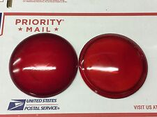 "NOS? PAIR Vintage RED 4-9/16"" Glass LENS Tail Light Lamp Auto CAR AnTiQuE TRUCK"