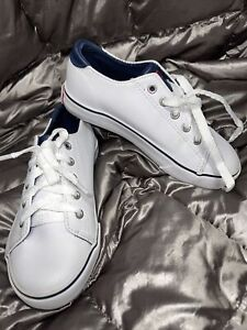 POLO RALPH LAUREN KIDS BOYS WHITE SHOES PU LEATHER  UPPER LACE UP SZ 11