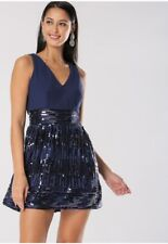 Blue Sequin Party Dress Size 10 Stretch RRP £85 BNWT TFNC Marella