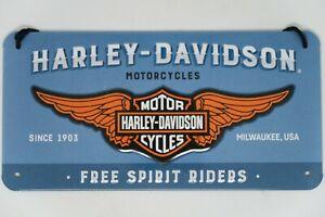 Hanging Retro Tin Metal Embossed Sign HARLEY DAVIDSON 'FREE SPIRIT' Licensed