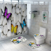 3D Butterfly Bathroom Rug Set Shower Curtain Skidproof Toilet Lid Cover Bath Mat