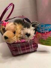 Pucci Pups Pink And Plaid Twin Bag with Cocker Spaniel& Schnauzer Pups New W/tag