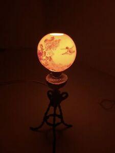 Vintage Artist NICOLE MINNICK Hummingbird Porcelain Globe Floor Lamp Dollhouse