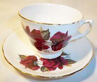 ROYAL VALE BONE CHINA RED ROSE CUP AND SAUCER MADE IN ENGLAND