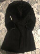 Rabbit Fur Trim Black Bebe Dress Coat Sz XS
