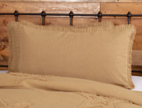 BURLAP NATURAL King Sham w/ Fringed Ruffle Tan/Khaki Farmhouse VHC Brands