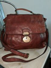 FOSSIL Vintage Reissue Messenger  Brown Leather crossbody Bag satchel purse EUC