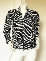 JOSEPH RIBKOFF BLACK ZEBRA CLEAR SEQUIN ZIP FRONT CROP JACKET SIZE: 8 / 10