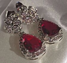 K14 Sim diamond 4 leaf clover & pear cut ruby white gold gf earrings CRUISE boxd