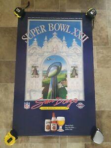 1988 Super Bowl XXII washington Redskins vs broncos Jack Murphy Stadium Poster