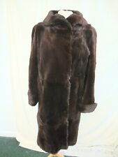 "Ladies Fur Coat Chapal size S, length 41"", brown dense real fur, vintage 2123"