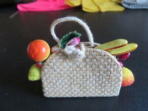 Vintage Barbie Doll Suburban Shopper #969 Basket Fruit Straw Purse Bag