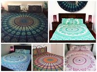 Indian Mandala Bedding Bedspread Coverlet Blanket With Pillow Tapestry Queen