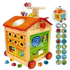 Wooden Farm House Baby First Walker Pusher With Learning Activity & Storage