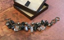 "8"" Shell Hematite Sterling Silver Grey Fresh Water Pearl Bracelet Silpada B1777"