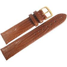 17mm Fluco Tan Teju Lizard-Grain Leather GOLD Buckle German Watch Band Strap Men