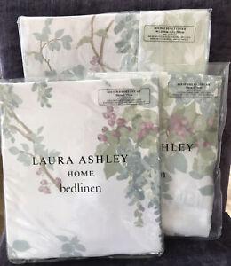 Laura Ashley Wisteria Duck Egg DOUBLE Duvet Cover + 2 Pillowcases - New In Packs