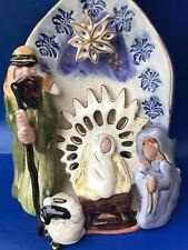 "New listing Blue Sky Heather Goldminic 'Heavens Alight. 1st Xmas"" Nativity T-Lite house"