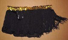 "NEW DANCE COSTUME fringe Skirt Black w/yellow sequin waist Girls szs 6-7"" long"