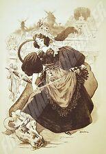 LITHOGRAPHIE ANCIENNE MONTMARTRE fin19è LA VACHE ENRAGEE par ROEDEL Moulin Rouge