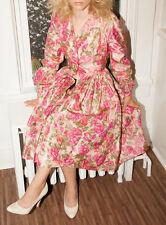 Vtg Silk 50s 60s 1950 1960 Dress Floral Tea Full Shirt Taffeta Pink Green XS S