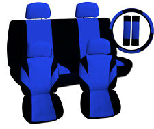 13pc set  cool car seat covers blk/blue +matching swc+sbc,NO AIRBAGS CUT-OUT