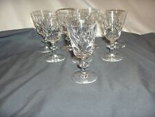 8 Webb Corbett Wine Goblets Fine Crystal Fan Thumbprint Disk Stem WEC7 NICE