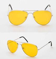 Yellow Lens Glasses Vintage Geek Retro Aviator Style Night Driving Sunglasses
