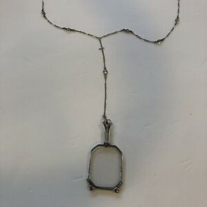 Victorian Sterling Silver Lorgnette Folding Glasses With Y Chain Necklace