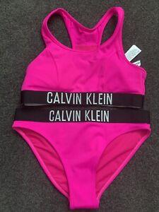 Calvin Klein Swimwear GIRLS  BIKINI Size 12 - 14 SET NEW Hot pink RRP $69.99