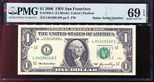 2006 $1 Federal Reserve Note with Fancy RADAR Serial # PMG 69EPQ