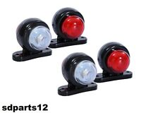 4x Fanale Luce Ingombro Laterale Led Rosso Bianco 12v Camion Rimorchio Roulotte