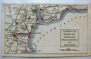 SIDMOUTH EXMOUTH DAWLISH DEVON  MINIATURE MAP c1815  GENUINE ANTIQUE ENGRAVING