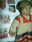 Sweet antique, 1910-20s, bisque sockethead RUSSIAN girl doll in original costume