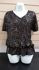 LADIES TOP BLACK SIZE10 KALEIDOSCOPE GOLD BLACK SEQUIN MESH DETAIL BNWT  G018