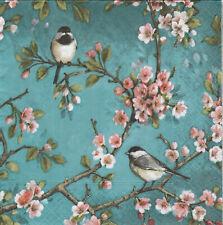 Lot de 4 Serviettes en papier Oiseau Fleur Decoupage Collage Decopatch