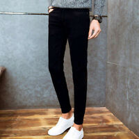 Men Middle Waist Trousers Denim Jeans Slim Fit Skinny Stretch Long Pants