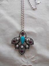 """Vintage Sarah Coventry Jeweled Pendant/Pin 24"""" L Chain Necklace/Brooch Signed"""