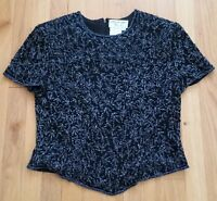 Vtg Papell Boutique Evening Top Black Silk Embroidered Beaded Sequin Medium