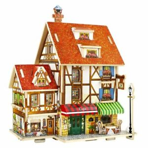 Miniature Figurine DIY Wooden House Ornament Home Desktop Dollhouse Decoration