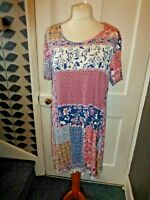 EVANS UK 16 EU 44 PRETTY FLORAL VISCOSE/ELASTANE SHORT SLEEVE DRESS/TUNIC