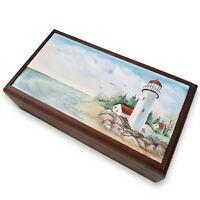 Vintage Portland Head Light Lighthouse Maine Hardwood Painted Tiled Trinket Box